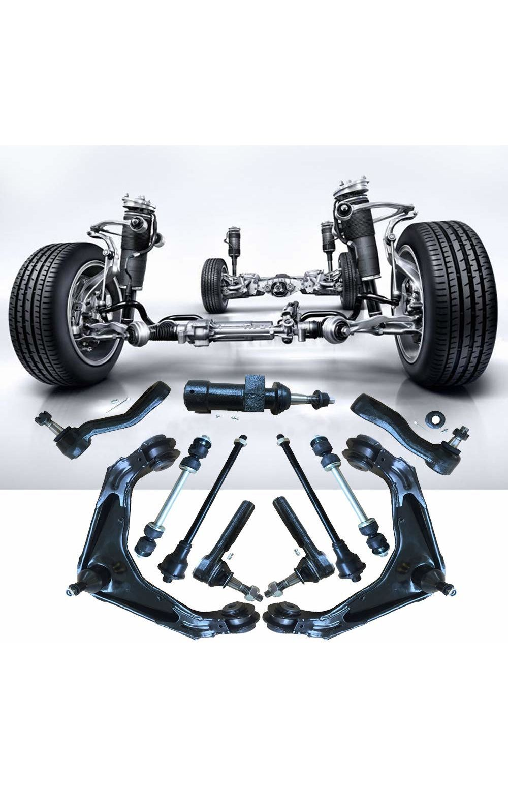 13Pc Front Control Arms And Lower Ball Joints Tie Rods Link Sway Bar Suspension Kit For Chevrolet Silverado 1500 GMC Tahoe Sierra Suburban Yukon XL Avalanche Cadillac Classic Escalade ESV EXT